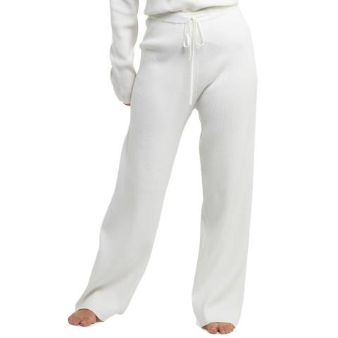 Wolf & Whistle Ivory Super Soft Knitted Rib Loose Lounge Trousers