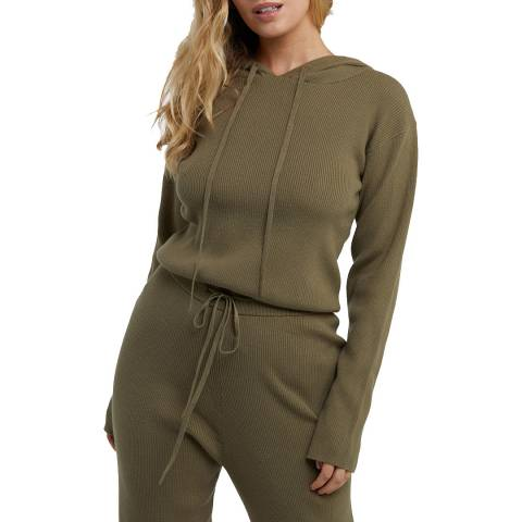 Wolf & Whistle Khaki Super Soft Knitted Rib Cropped Hoodie