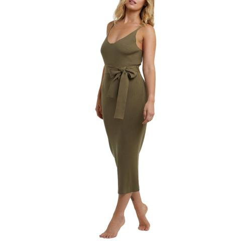 Wolf & Whistle Khaki Super Soft Knitted Rib Round Neck Fitted Dress