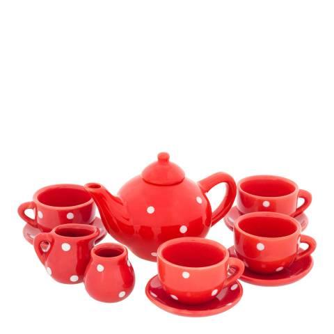 Ulysse Red Dots Porcelain Tea Set