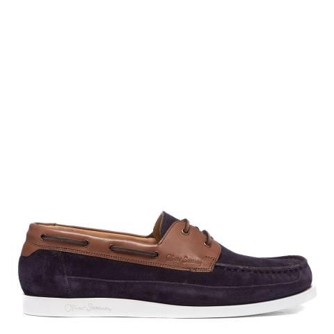 Oliver Sweeney Navy Orkney Suede Boat Shoe
