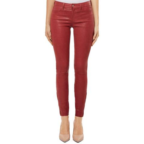 J Brand Red L8001 Leather Mid Rise Skinny Jeans