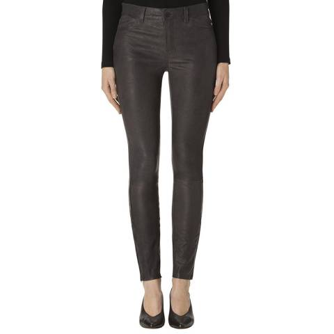 J Brand Black L8001 Leather Mid Rise Skinny Jeans
