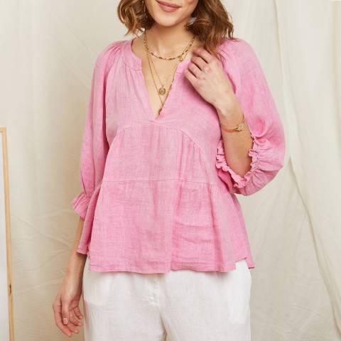 Rodier Pink Blouson Linen Blouse