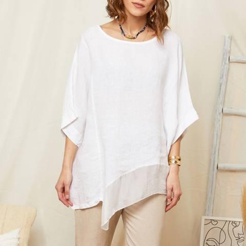 Rodier White Asymmetric Hem Linen Top