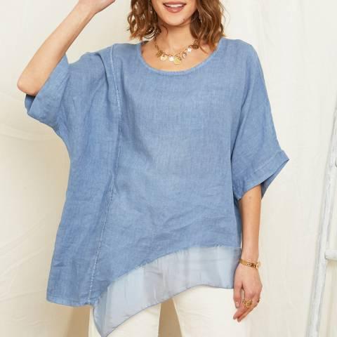 Rodier Blue Asymmetric Hem Linen Top