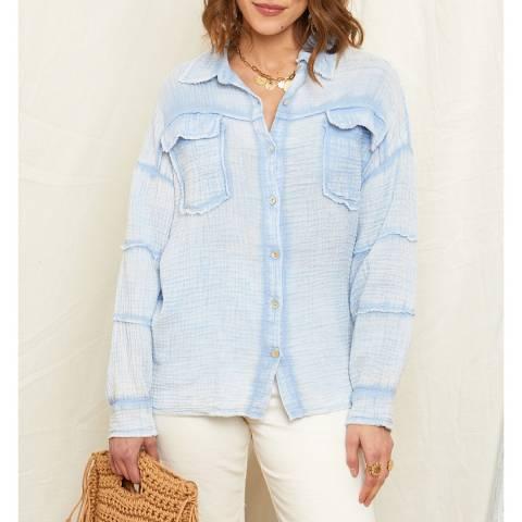 Rodier Pale Blue Button Through Linen Shirt