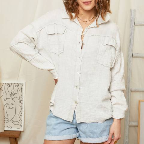 Rodier Grey Button Through Linen Shirt