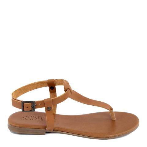 Triple Sun Tan Leather T-Bar Flat Sandal