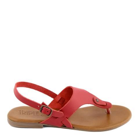 Triple Sun Red Leather Wide Strap Flat Sandal