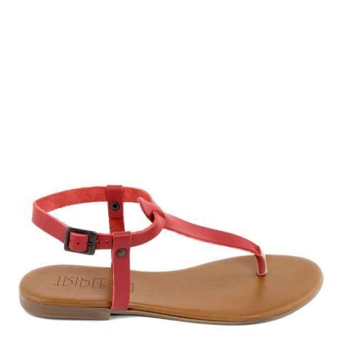 Triple Sun Red Leather T-Bar Flat Sandal