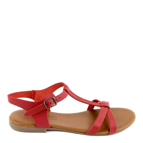Triple Sun Red Leather Cross Strap Sandal