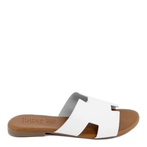 Triple Sun White Leather Slide Sandal