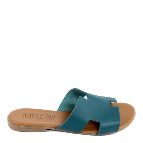 Triple Sun Blue Leather Slide Sandal