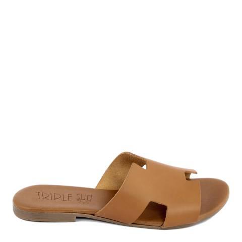 Triple Sun Tan Leather Slide Sandal