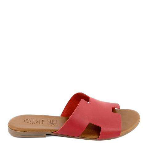 Triple Sun Red Leather Slide Sandal