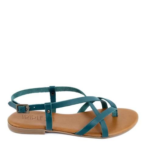 Triple Sun Blue Leather Multi Strap Sandal