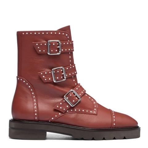 Stuart Weitzman Burgundy Leather Jesse Ankle Boots