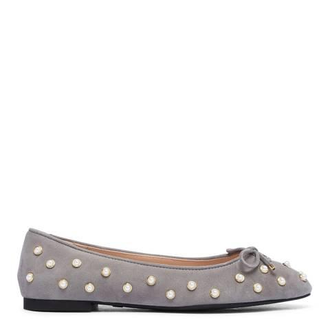 Stuart Weitzman Grey Suede Gabby Pearl Ballet Shoes