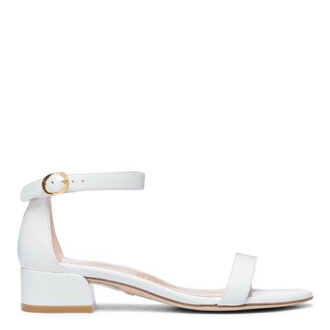 Stuart Weitzman White Leather Nudistjune Heeled Sandals