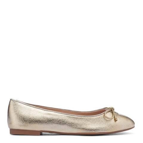 Stuart Weitzman Gold Gabby Flat Ballet Shoes