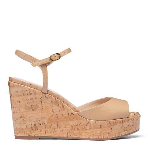 Stuart Weitzman Beige Leather Palmina Sandals