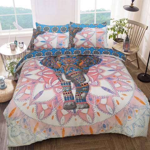 Sleepdown Elephant Mandala Double Duvet Cover Set, Pink/Blue
