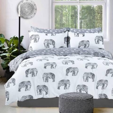 Sleepdown  Elephant Double Duvet Cover Set, Grey