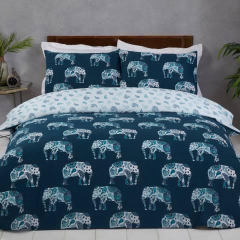 Sleepdown Elephant Double Duvet Cover Set, Teal