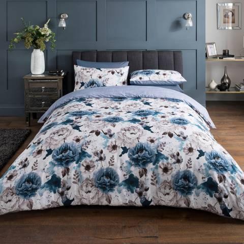 Sleepdown Inky Floral Super King Duvet Cover Set, Blue