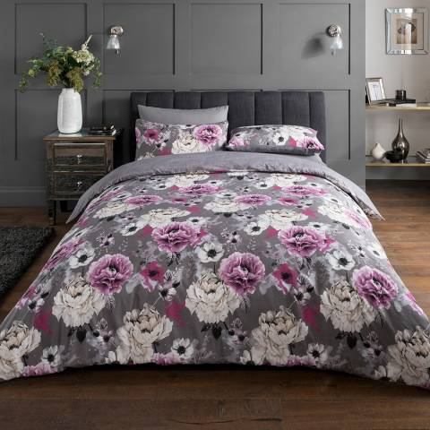 Sleepdown Inky Floral King Duvet Cover Set, Grey