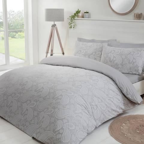 Sleepdown Paisley Paste Double Duvet Cover Set, Silver/Grey