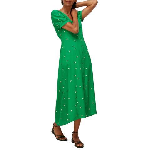 WHISTLES Green Romantic Floral Silk Dress
