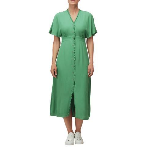 WHISTLES Green Ella V-Neck Dress