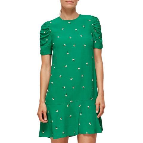 WHISTLES Green/Multi Romantic Floral Georgina Dress