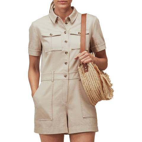 WHISTLES Beige Leith Utility Twill Playsuit