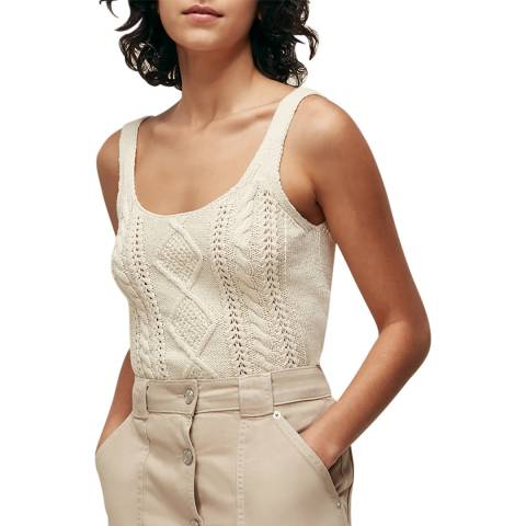 WHISTLES Ivory Cable Knitted Vest