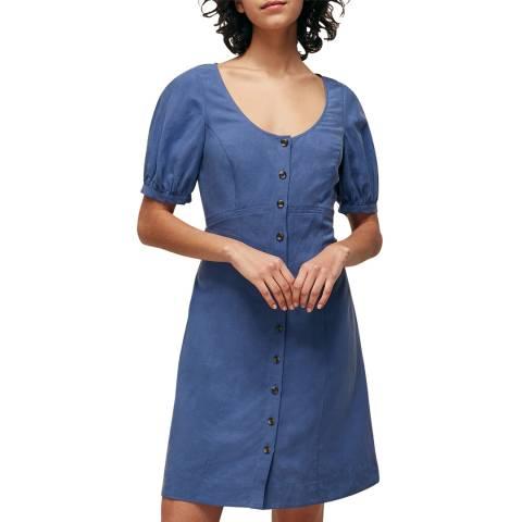 WHISTLES Blue Tara Scoop Linen Mix Dress