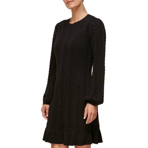 WHISTLES Black Pointelle Crochet Flippy Dress