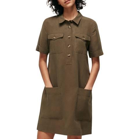 WHISTLES Khaki Pocket Detail Linen Mix Dress