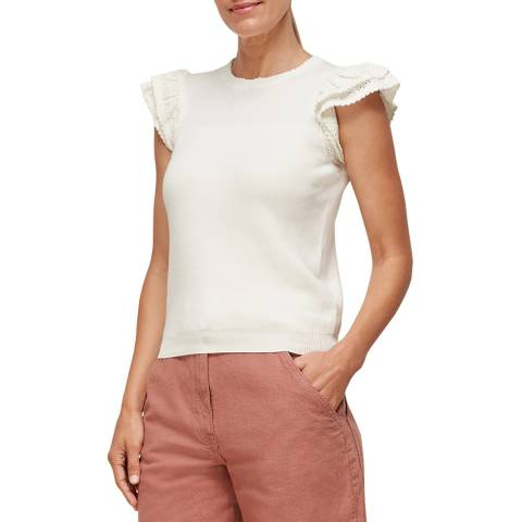 WHISTLES Ivory Pointelle Frill Sleeve Top
