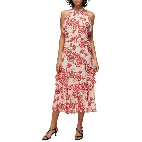 WHISTLES Pink/Multi Devina Diagonal Floral Dress