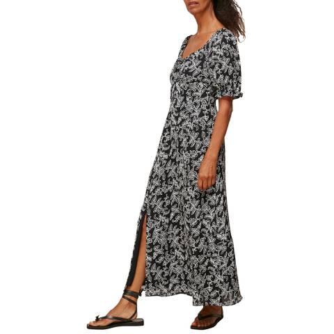 WHISTLES Black/Multi Jasmine Print Silk Dress