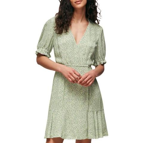 WHISTLES Green/Multi English Garden Wrap Dress