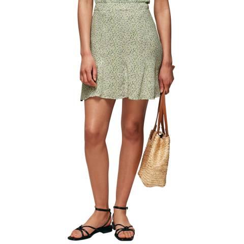 WHISTLES Green/Multi English Garden Flippy Skirt