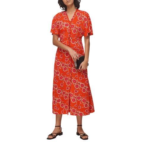 WHISTLES Red/Multi Ella Diagonal Floral Dress