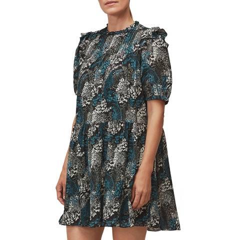 WHISTLES Multi Marble Animal Print Silk Dress