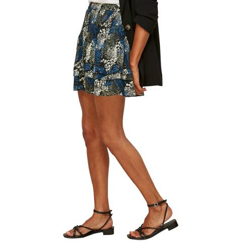 WHISTLES Multi Marble Animal Print Silk Skirt