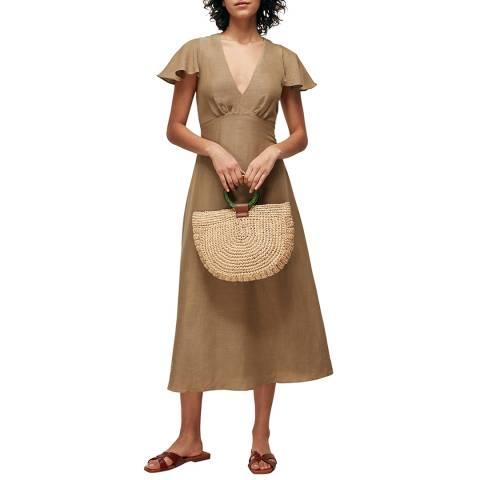 WHISTLES Khaki Frill Sleeve Midi Dress