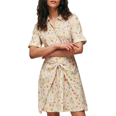 WHISTLES Cream Dolly Fruit Tie Front Dress